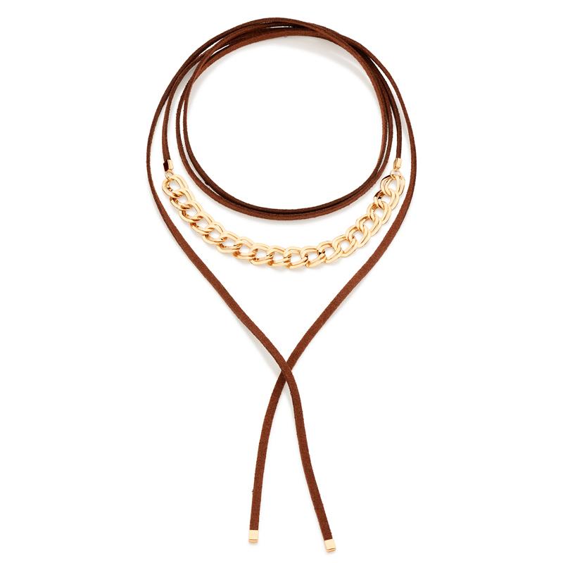 4dbcca3175f22 Choker gravata couro marrom elos de metal