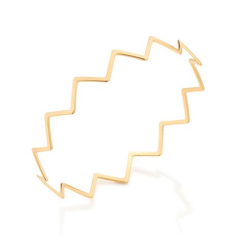 551561 Bracelete formado por aro fino em zig zag joia rommanel metamorfose brilho folheados