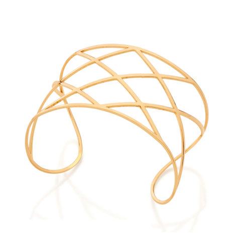 551563 Bracelete formado por aro fino vazado no formato de losango joia rommanel metamorfose brilho folheados