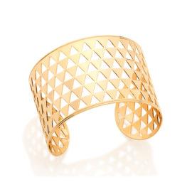 551564 Bracelete aro largo aberto com detalhes vazados no formato de pequenos triangulos joia rommanel metamorfose brilho folheados