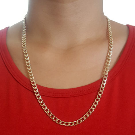86s60 corrente masculina elos grosso maciça folheada a ouro dourado 18k brilho folheados sabrina joias foto da corrente no pescoço 1