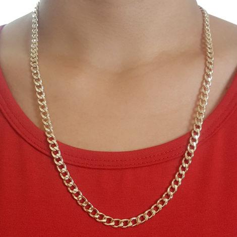 86s60 corrente masculina elos grosso maciça folheada a ouro dourado 18k brilho folheados sabrina joias foto da corrente no pescoço 2