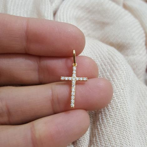MB1154 mini pingente cruz cravejado com zirconia branca joia folheada ouro 18k bruna semijoias brilho folheados
