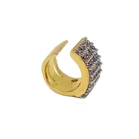 brinco piercing de pressao cravejado com zirconias ajustavel folheado a ouro 18k brilho folheados foto modelo 2