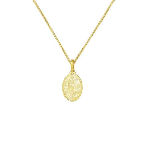 colar feminio com medalha de nossa senhora de fátima estampada oval folheada a ouro dourado 18k brilho folheados