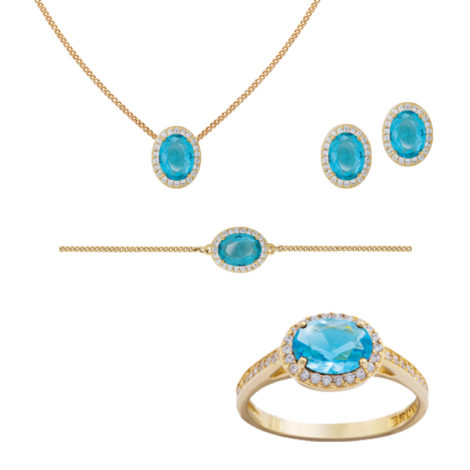 conjunto anel colar brinco e pulseira cristal delicado bruna semijoias brilho folheados BB2682 BP0444 GB051 AB1624