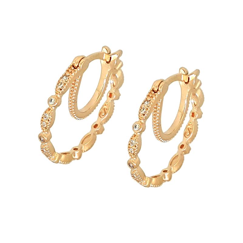 a279856b814b5 Brinco argola leve joia folheada ouro rosê Sabrina Joias com zircônia