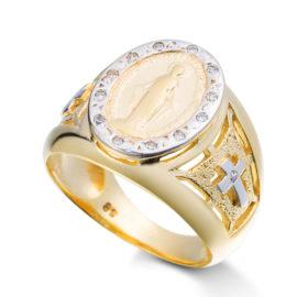 2948900 anel nossa senhora das gracas com zirconias brancas joia folheda ouro dourado marca sabrina joias loja brilho folheados