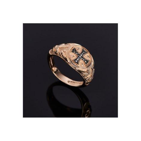 512639 anel com cruz no centro 13 zirconias rommanel colecao homem brilho folheados foto modelo