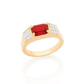 512641 Anel com parte superior retangular composta por 1 cristal vermelho ao lado do cristal metal quadriculado em rodio rommanel homem brilho folheados