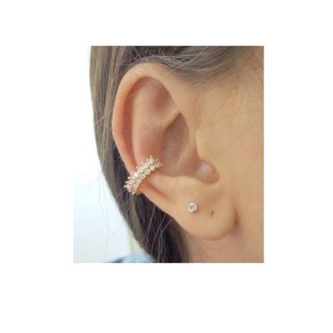 525875 Brinco earcuff unitario formado por 16 zirconias joia folheada rommanel brilho folheados brinco na orelha da cliente