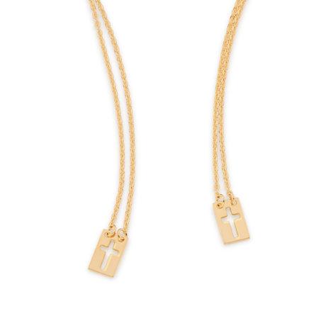531911 Escapulário composto por fio cartier com medalhas contendo cruz vazada folheado a ouro 18k joia rommanel colecao homem brilho folheados