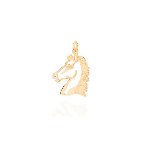 542119 Pingente cabeca de cavalo vazado peca macica folheado a ouro 18k rommanel colecao homem brilho folheados