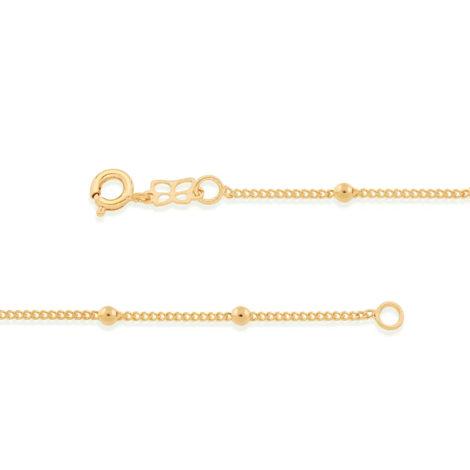 Imagem de fundo branco, contendo duas partes da pulseira intantil de elos grumet com bolinhas maciças. Pulseira Rommanel, SKU 550104.