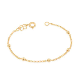 Imagem de fundo branco contendo 1 pulseira infantil com malha de elos e bolinhas maciças, banhada a ouro 18k. Marca Rommanel. SKU 550104