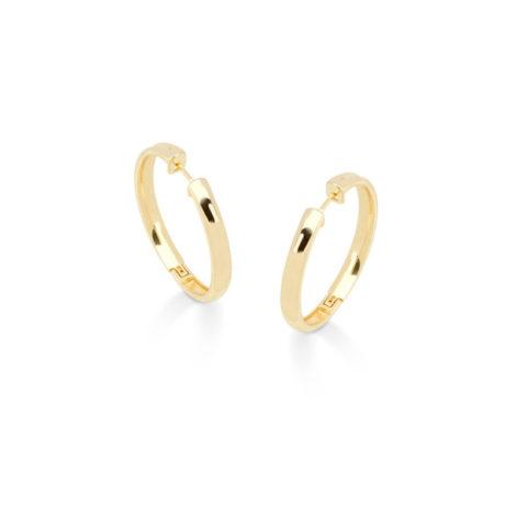 1690244 brinco argola lisa media folheada ouro 18k muito similar a uma joia de ouro mesmo brilho folheados sabrina joias