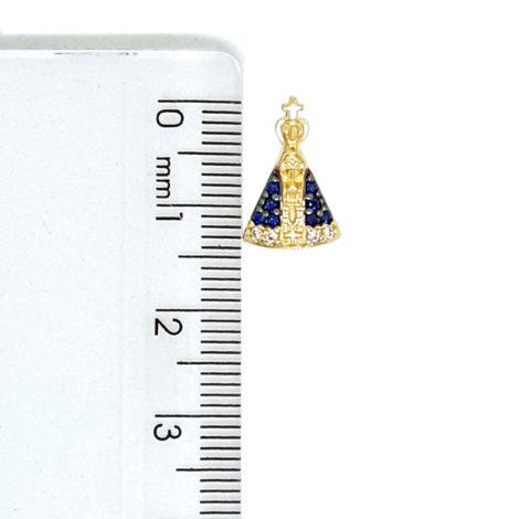 1800688 222e45 colar de mini nossa senhora aparecida com manto cravejado com zirconias azul colar de elos folheado a ouro 18k sabrina joias brilho folheados foto modelo 2