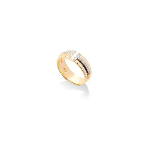 1910941 anel alianca amor 2 t em zirconia branca folheado a ouro dourdo 18k com aplique de ródio ao redor das zirconias sabrina joias brilho folheados