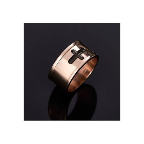 512637 anel com cruz aplicacao rodio negro rommanel colecao homem brilho folheados foto modelo
