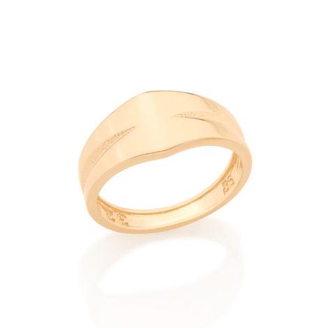 512638 Anel liso com detalhes nas laterais e parte superior anel formato frente em losango folheado ouro rommanel homem brilho folheados estilista mario queiroz