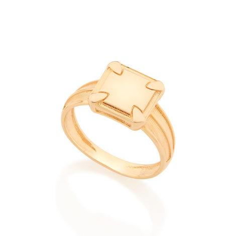 512640 Anel formado por parte superior quadrada lisa com detalhes na lateral folhedo a ouro rommenl homem brilho folheados