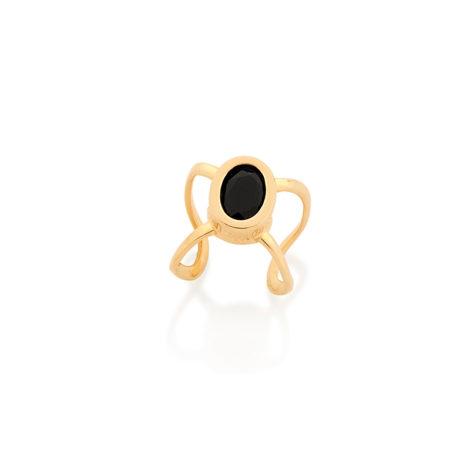 526146 Brinco piercing de pressão para orelha média e grande folheado ouro pedra preta millenniall Rommanel brilho folheados