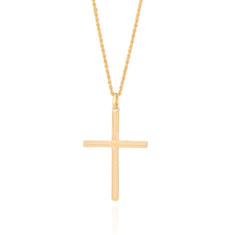 531877 542117 cordao masculino com pingente de cruz joia folheada a ouro 18k rommanel colecao homem brilho folheados