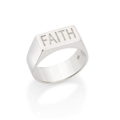 Anel masculino fé em inglês prata 925 810203