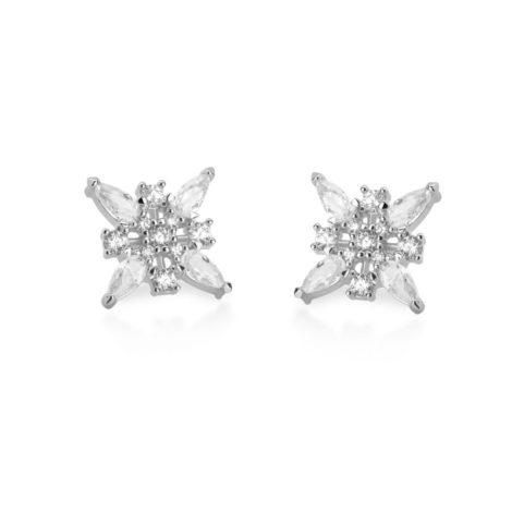 R1690189 brinco flor quadrada com gotas de zirconias e pedras redondas joia folheada a ouro branco rodio cor de prata com brilho sabrina joias brilho folheados