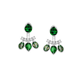 Brinco ear jacket cristais verde esmeralda 2 em 1