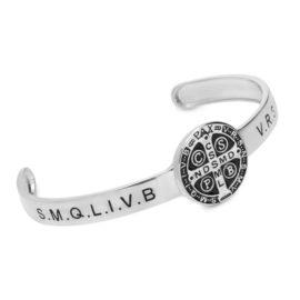 R1700463 bracelete ajustavel medalha de sao bento joia folheada rodio prateado brilho folheados sabrina joias