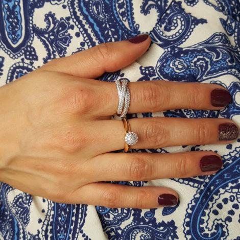 anel triplo zirconias anel solitario chuveirinho sabrina joias brilho folheados foto modelo