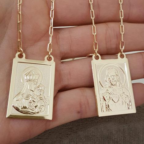 escapulario medalhas grandes sagrado coracao de jesus e nossa senhora do carmo folheado a ouro 18k brilho folheados 1