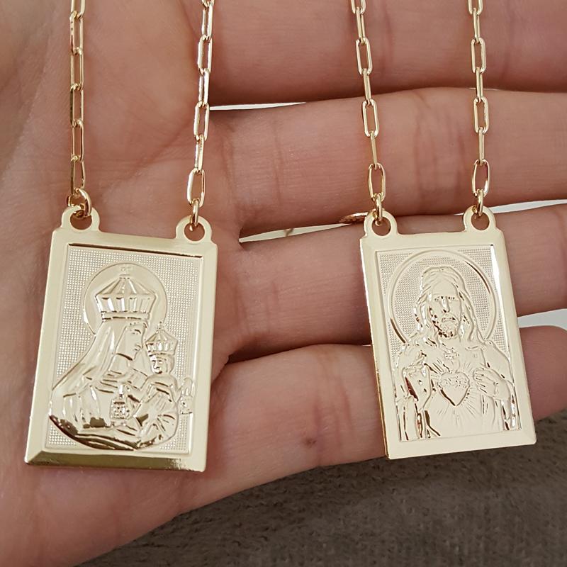 b9b65591d1d Escapulário grande S. Coração NS. Carmo Karola folheado a ouro ...