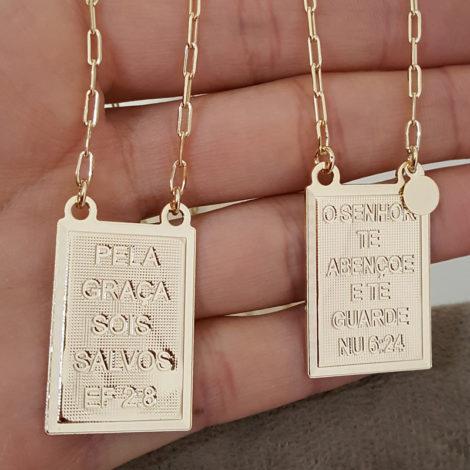 escapulario medalhas grandes sagrado coracao de jesus e nossa senhora do carmo folheado a ouro 18k brilho folheados 2