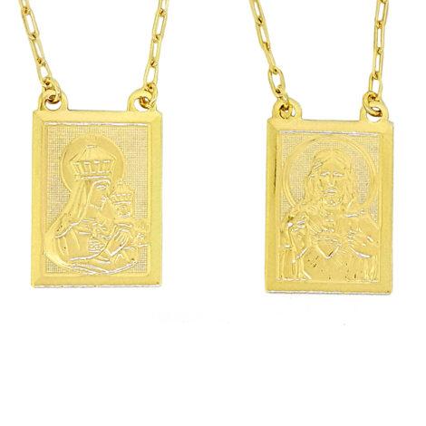 escapulario sagrado coracao e nossa senhora do carmo medalhas grandes com oracao no verso da medalha folheado a ouro dourado 18k escapulário similar ao da karola