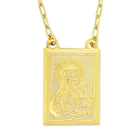 medalha nossa senhora do carmo escapulario de karola carola segundo sol folheado a ouro dourado 18k brilho folheados