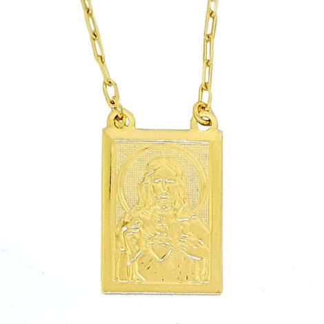 medalha sagrado coracao escapulario de karola carola segundo sol folheado a ouro dourado 18k brilho folheados