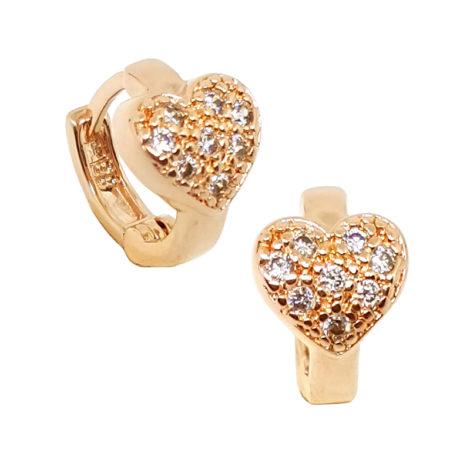1676500 rose brinco argola pequena com coracao cravejado com zirconias brilhantes folheado a ouro rose brilho folheados sabrina joias