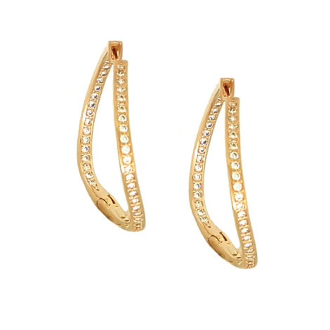 1689124 ouro rose brinco argola ondulada cravejada com zirconias brancas brinco com fecho clique brilho folheados sabrina joias