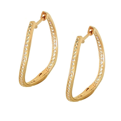 1689124 ouro rose brinco argola ondulada cravejada com zirconias brancas brinco com fecho clique brilho folheados sabrina joias peca sensacional