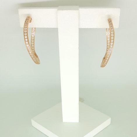 1689124 ouro rose brinco argola ondulada cravejada com zirconias brancas joia folheada ouro rose brilho folheados sabrina joias