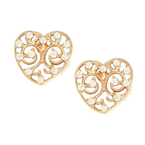 Brinco ouro rosê coração rendado com zircônias