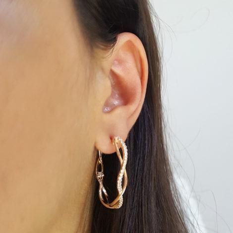 1689840 rose brinco argola oval trancada zirconia branca brilhante folheado ouro rose brilho folheados sabrina joias foto modelo 1