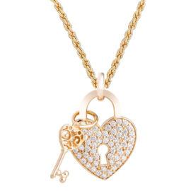 1800536 93e45 corrente grossa trancada com pinente coracao e chave folheado ouro dourado 18k sabrina joias brilho folheados