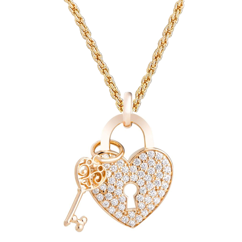 Gargantilha trançada com pingente coração e chave joia folheada ... e84c5a4561