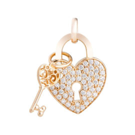 Pingente coração médio com zircônias e chave