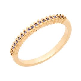 512649 anel meia alianca parte superior cravejada com 19 zirconia azul joia folheada ouro 18k rommanel colecao violet joia antialergica brilho folheados