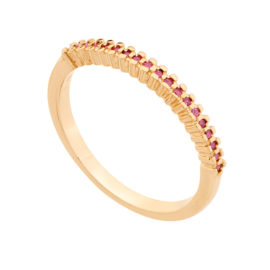 512649 anel meia alianca parte superior cravejada com 19 zirconia rosa escuro joia folheada ouro 18k rommanel colecao violet joia antialergica brilho folheados