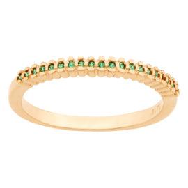 512649 anel meia alianca parte superior cravejada com 19 zirconia verde joia folheada ouro 18k rommanel colecao violet joia antialergica brilho folheados